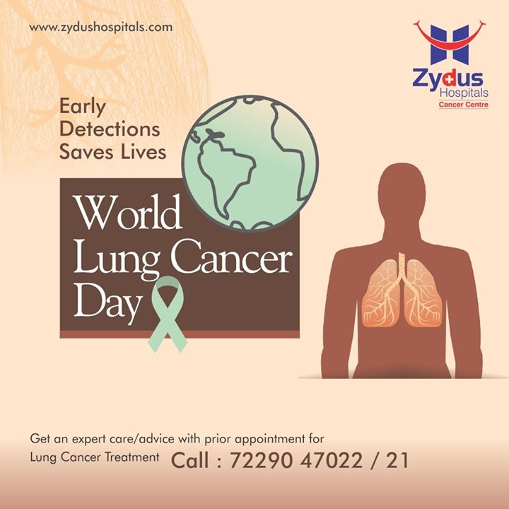 Lung cancer continues to be one of the most common cancers worldwide and accounts for nearly one in five cancer deaths globally. Early detection of lung cancer is necessary and can save lives.  #WorldLungCancerDay #LungCancerDay #ZydusCancerCentre #CancerCentre #Cancer #CancerCare  #ZydusHospitals #Ahmedabad #SmileofGoodHealth