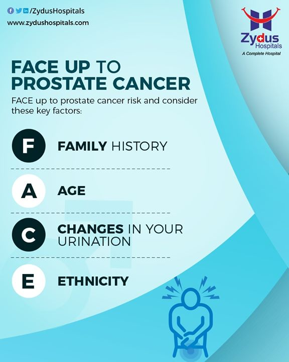 Prostate cancer is a form of cancer that develops in the prostate gland. Face up to Prostate Cancer Risks and consider the key factors like family history, age, changes in your urination, and ethnicity. Early Diagnosis always gives a better chance to cure it.  #ProstateCancer #CancerCare #Urologist #ZydusHospitalsCares #ZydusHospitals #Ahmedabad #SmileofGoodHealth