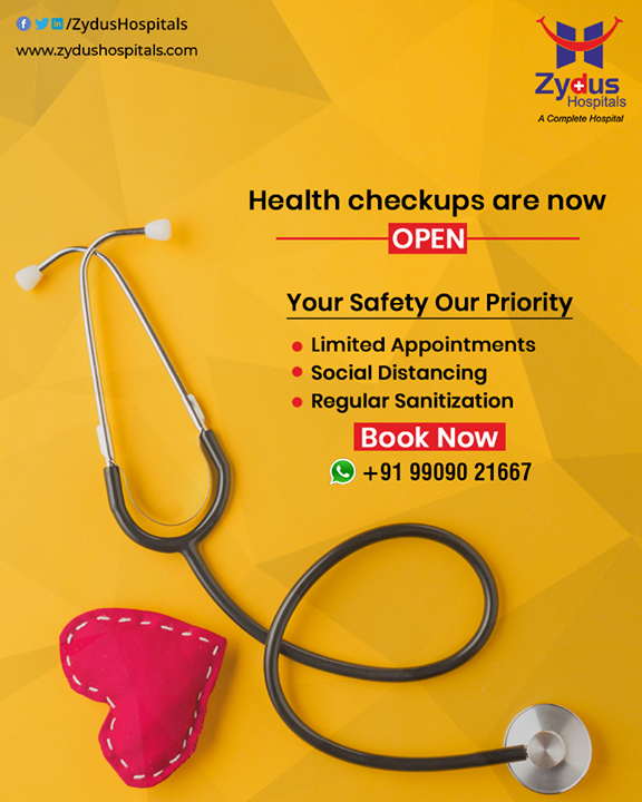 Worried about your health - get a check-up done today.  Zydus Hospitals health check-up is NOW OPEN with complete precautions.  Book an appointment now: +91-9909021667  #HealthCheckUp #health #healthcare #checkup #healthylifestyle #healthylife #healthy #preventivehealthcare #ZydusHospitalsCares #ZydusHospitals #Ahmedabad #SmileofGoodHealth
