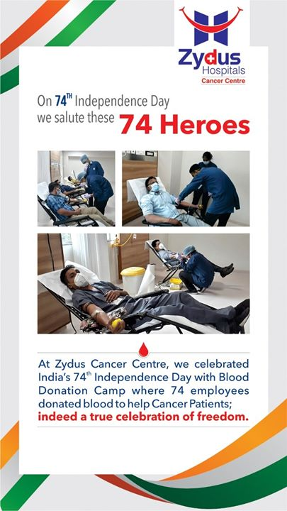 A true celebration of freedom.  At Zydus Cancer Center, we celebrated India's 74th Independence Day with Blood Donation Camp where 74 employees donated blood to help Cancer Patients  #ZydusCancerCenter #BloodDonationCamp #BloodDonation #SaveLives #ZydusHospitalsCares #ZydusHospitals #Ahmedabad #SmileofGoodHealth