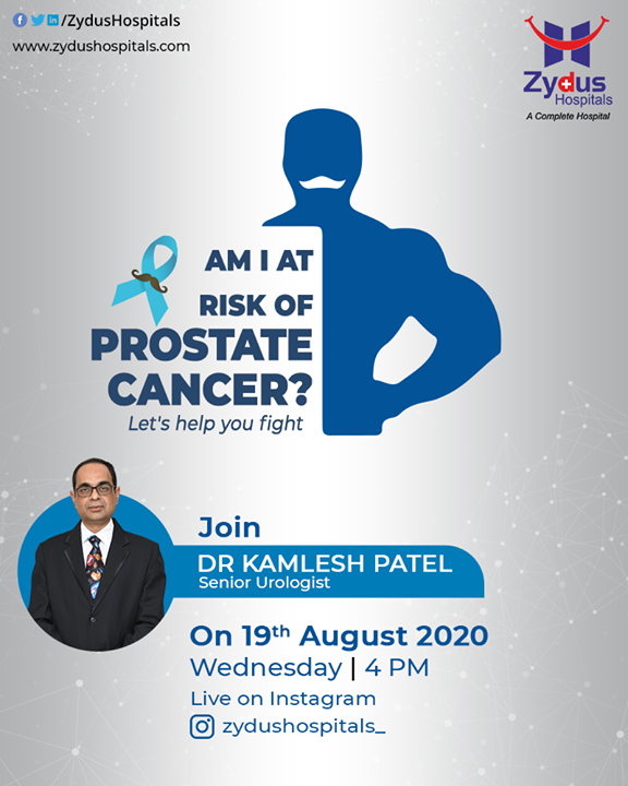 Prostate Cancer grows slowly and is initially confined to the prostate gland but can later spread quickly if ignored.  Join #InstagramLive of Dr. Kamlesh Patel, Senior Andrologist & Transplant Urologist, on 19th August, 4PM onwards, and get guided by him regarding the