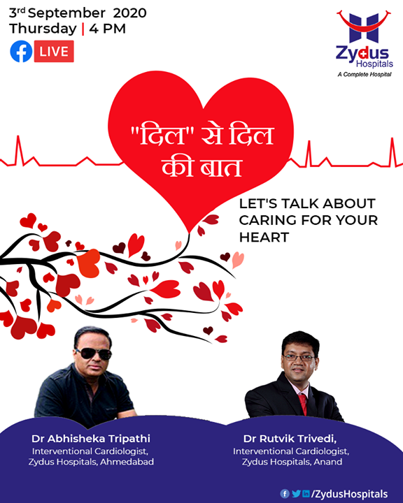 Let's talk about caring for your heart in a FB Live Session with our Interventional Cardiologists - Dr Abhisheka Tripathi - Cardiologist at Zydus Hospital (Zydus Hospitals, Ahmedabad) and Dr. Rutvik Trivedi (Zydus Hospitals, Anand), session moderated by Himanshu Sharma (Lead-International Relations)  #FBLive #FacebookLive #HeartCare #ZydusHospitals #Ahmedabad #SmileofGoodHealth #Heartcare #Cardiology