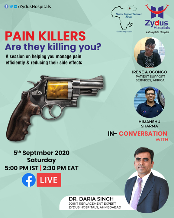 Perils of Painkillers - popping up pain killers is easy, we all do that. Let's be aware that this habit can be more dangerous than beneficial.   Let's learn from DR. DARIA SINGH on judicious use of pain medication. He will be joined by Irene Ogongo (Patient Support Services, Africa) & Himanshu Sharma (International Relations - Zydus Hospitals)  Be there.  #FBLiveSession #Painkillers #FBLive #PerilsofPainkillers #ZydusHospitals #Ahmedabad #SmileofGoodHealth #EastAfrica #kenya #tanzania #Uganda #Africans