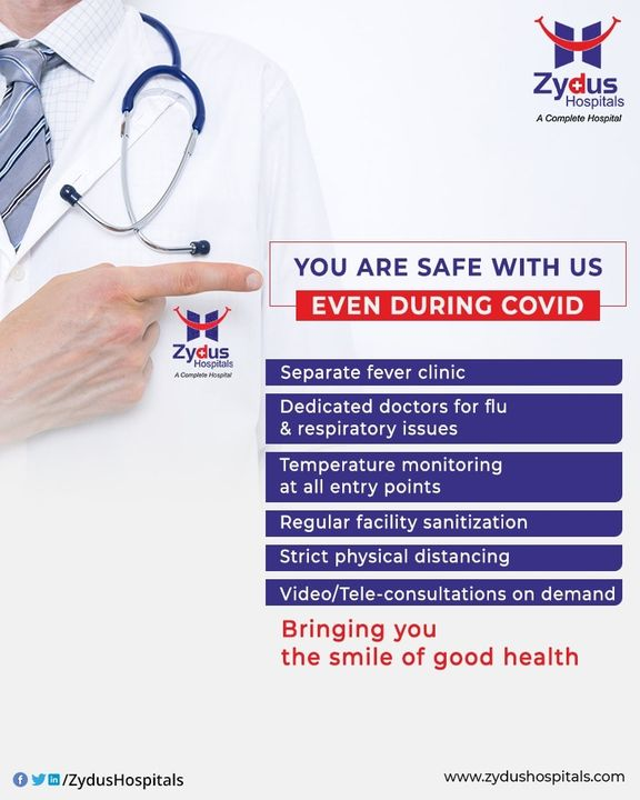 #ZydusHospitals is ensuring your safety, especially during COVID. We have taken all the measures to keep #social distancing a priority with separate #fever clinic, temperature monitoring at all entry points, regular sanitization facilities and even video / tele-consultations on demand.   Whatsapp on +919909021667 for appointments or guidance  Spreading smiles through #GoodHealth #Healthcare #Ahemdabad #COVIDera
