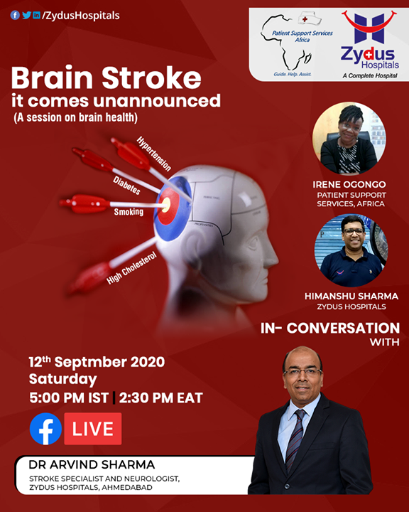 #Brainstroke - among the largest killers in the world. A major reason leading to disability \ death for millions.  Join us to understand how some life modifications can help you stay safe.   Arvind Sharma - Neurologist, Neurosonologist & Stroke Specialist shall be answering our questions during the discussion.  #FBLiveSession #FBLive #BrainHealth #ZydusHospitals #Ahmedabad #SmileofGoodHealth