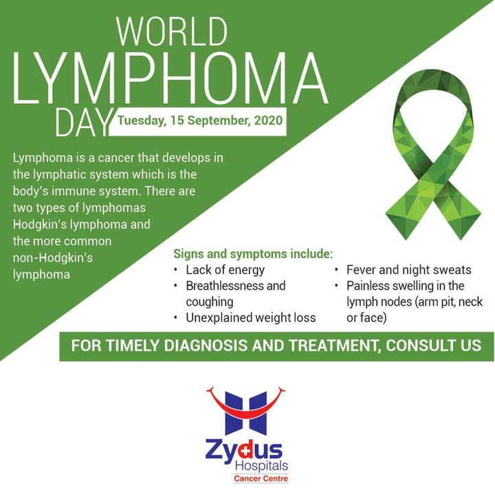 World Lymphoma Day is a day dedicated to raising awareness of Lymphoma. Know the signs and symptoms of Lymphoma and Consult us for timely diagnosis in case you experience any of these symptoms.  #WorldLymphomaDay #LymphomaDay #Lymphoma #Cancer #LymphaticCancer #LymphNodes #ZydusHospitals #Ahmedabad #GoodHealth