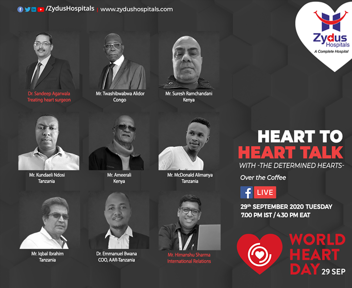 On the occasion of #WorldHeartDay, we bring to you a heart to heart talk with the most determined hearts from across the globe. Join us on Facebook for a live session with these resilient men and witness their inspiring stories.  When? 29th September 2020 at 7 PM IST | 4.30 PM EAT  #HeartCare #HealthyHeart #HeartHealth #JoinUs #FBlive #ZydusHospitals #BestHospitalinIndia #Ahmedabad #SmileofGoodHealth #Kenya #Tanzaina #Uganda #DRC #Congo
