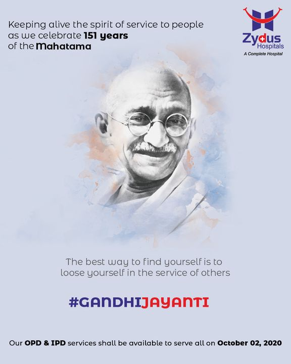 At #ZydusHospitals, we always strive at healing the world with our services, following the #Gandhian Philosophy of losing our self in the service of others.  Our OPD & IPD services shall be available to serve all on 2nd October, 2020.  #GandhiJayanti #MahatmaGandhi #Truth #NonViolence #GoodHealth #Ahmedabad