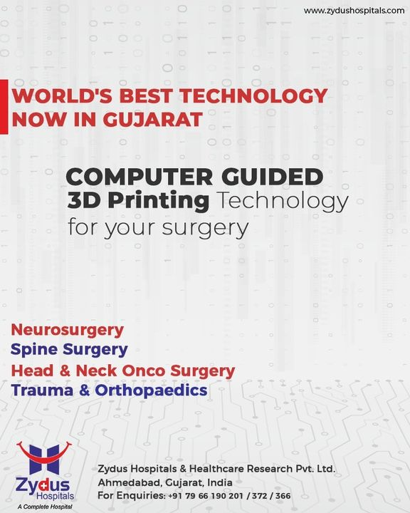 Patient focussed technological #innovations continue to provide doctors with new ways to improve the quality of #care & enhance the accuracy of surgery to their patients.  #ZydusHospitals now offers global standards of advanced surgical planning techniques which involves use of 3D Printed Customized #Implants.  #Surgical treatments in the fields of Neurosurgery, Spine Surgery, Head & Neck Onco Surgery, Trauma & Orthopedics have immensely evolved with the help of this innovation.  Want to know more reach us on +91-9909021667 or leave a comment and we shall revert.  #Customized3DPrinted #SurgeryTechniques #Ahmedabad #SmileofGoodHealth #BestHospitalinIndia