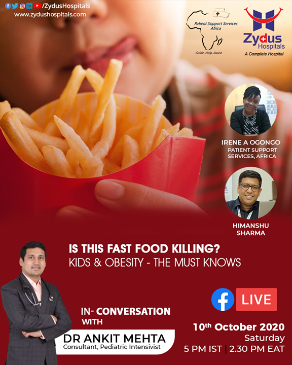 "Regular consumption of sodas, fast food and subsequently reduced exercising & physical activity may lead to long-term health problems including obesity.   TV, Mobile phones and Video games add the worst to this situation.  This may lead to chronic illnesses in later life too.  Keeping your kids off Fast food is a tough task but the need of the hour.   Join the FB Live Session, in conversation with Dr. Ankit Mehta, Consultant, Pediatric Intensivist on 10th Oct, 5 PM onwards and know all about ""Kids & Obesity"".  #TopPeadiatrician #ZydusHospitals #BestHospitalinIndia #Ahmedabad #GoodHealth #Obesity #KidsandObesity #PSSAfrica"