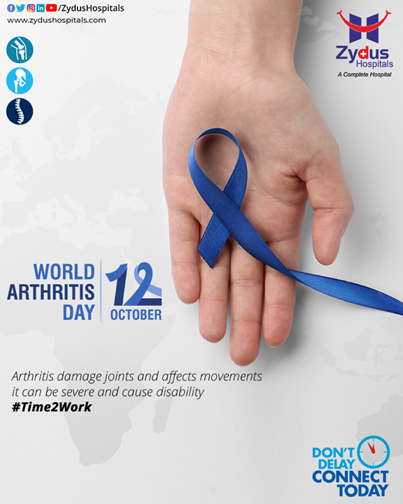 Your part is to beat #Arthritis on this World Arthritis Day. Today's sedentary #lifestyle results in poor muscle mass and #bone strength along with modern #epidemic, which has led to the prevalence of arthritis. Keeping weight in check, strengthening muscles around the #joints, doing stretching and flexibility exercises go a long way in keeping the joints #healthy and #pain-free. Don't delay - connect today to prevent further damage through early check-up.  #WorldArthritisDay #WorldArthritisDay2020 #HealthyBones #Time2Work #HealthyJoints #ArthritisAwareness #Osteoarthritis #RheumatoidArthritis #ArthritisRelief #ArthritisLife #ZydusHospitals #BestHospitalinIndia #Ahmedabad #SmileofGoodHealth