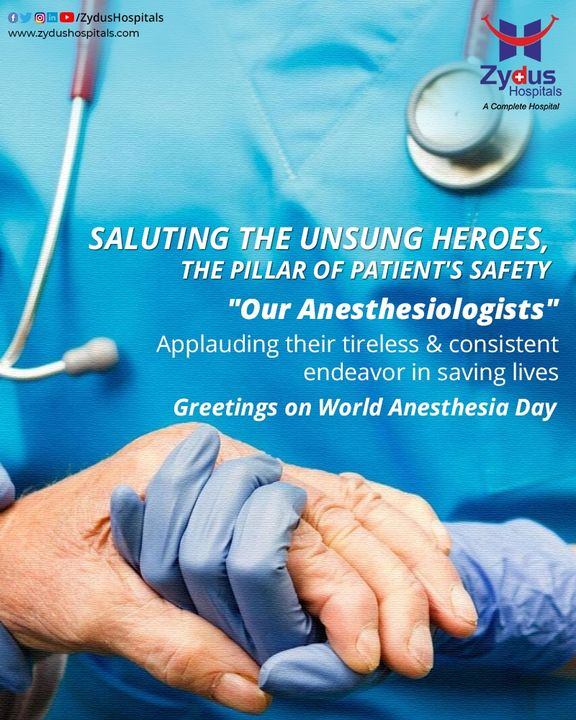 A surgery is never possible without an Anesthesiologist. On this World Anaesthesia Day, let's show appreciation to those who make sure that we do not hurt during an operation.  #WorldAnaesthesiaDay #AnaesthesiaDay #Anesthesiologist  #BestHospitalinIndia #ZydusHospitals #Ahmedabad #GoodHealth