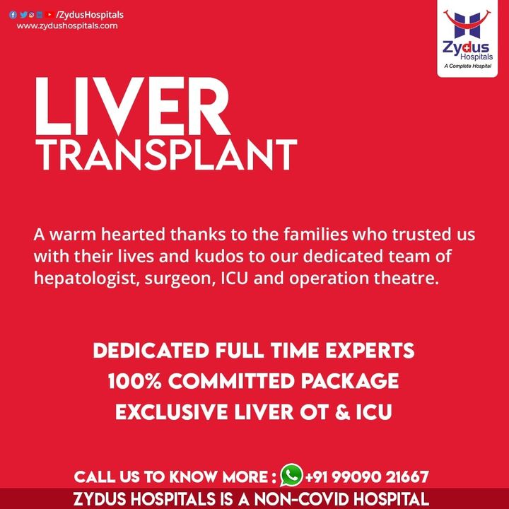 There are a number of factors that have led to the establishment of a robust #liver transplant program at Zydus Hospitals. The foremost being patient's trust in us. Even during COVID pandemic we have successfully treated transplant patients with utmost safety.  Our team of hepatologists, #surgeons, ICU and operation theatre strive hard to make #transplant an easy and comfortable journey for the patients.  #livertransplant #livertransplantsurvivor #organtransplant #liverdisease #ZydusHospitals #Ahmedabad #GoodHealth