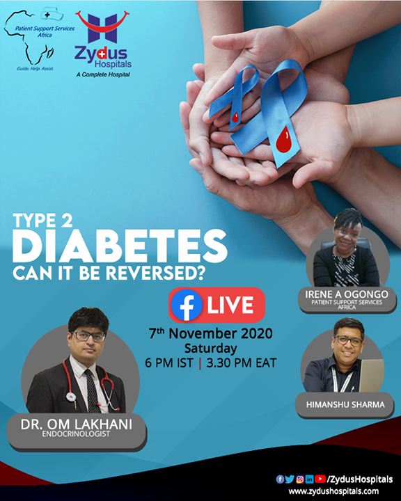 Type 2 diabetes is a chronic condition that affects the way your body metabolizes sugar. With type 2 diabetes, your body either resists the effects of insulin or doesn't produce enough insulin to maintain normal glucose levels.   Can it be reversed?   Find out on 7th November at 6:00 PM IST and 3:30 PM EAT with Ms. Irene Ogongo and Mr. Himanshu Sharma in conversation with Dr. Om Lakhani  #FacebookLive #FBLive #Diabetes #Diabetes2 #ZydusHospitals #BestHospitalInIndia #Ahmedabad #SmileofGoodHealth