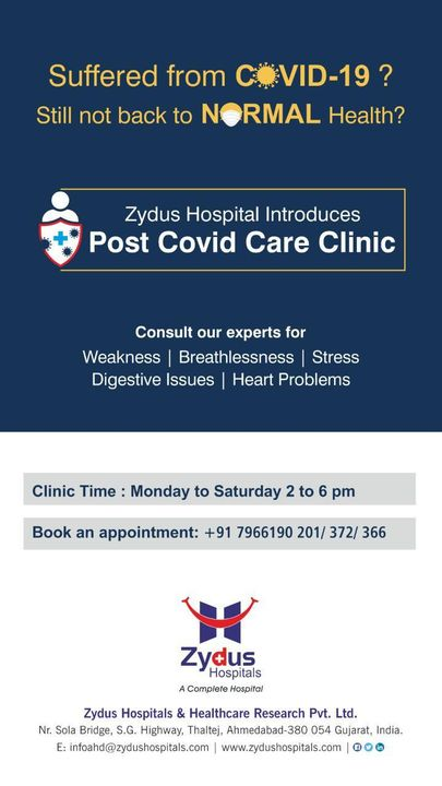 A very holistic approach is required for follow up care and well-being of post-COVID recovering patients and to replenish the organs so that they can get back to being normal. With the Post Covid Care Clinic by Zydus Hospitals, our experts will help you get back to being healthy again.  #COVID19 #CovidCareClinic #PostCOVIDRecovering #NewNormal #ZydusHospitals #BestHospitalInIndia #Ahmedabad #SmileofGoodHealth