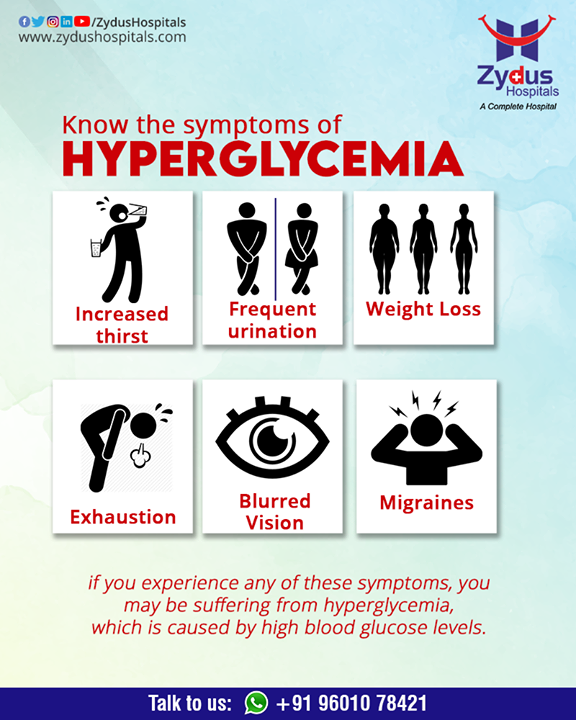 #Hyperglycemia refers to high levels of sugar, or #glucose, in the blood. It occurs when the body does not produce or use enough insulin, which is a #hormone that absorbs glucose into cells for use as energy. It is necessary to understand the #symptoms of Hyperglycemia to avoid more severe diseases.  #ZydusHospitals #Ahmedabad #GoodHealth #DiabetesPrevention #BestHospitalInAhmedabad #DiabetesCare #DiabetesAwareness