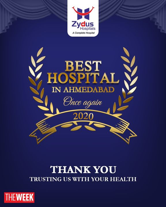 Your hospital is the best #hospital, #ZydusHospitals rated #1 by #TheWeek Magazine. Sincere gratitude for inspiring us.  #BestHospitalinAhmedabad #AhmedabadBestHospital #GoodHealth