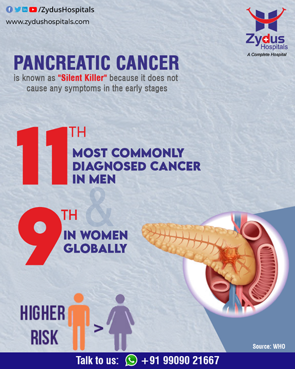 The pancreas secretes enzymes that aid digestion and hormones that help regulate the metabolism of sugars. Men are at higher risk of Pancreatic Cancer than Women and it is aggressive with few symptoms until the cancer is advanced and therefore it is necessary to keep track of your health.  #PancreaticCancer #ZydusCancerCentre #CancerCare #OncoSurgery #ZydusHospitalsCares #ZydusHospitals #Ahmedabad #SmileofGoodHealth