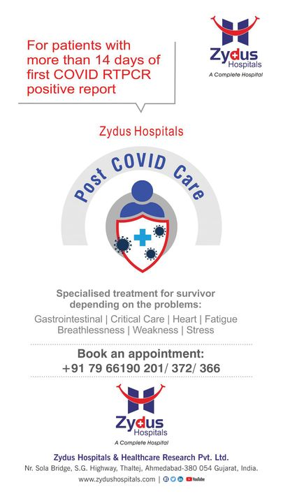 Cured of COVID?  Completed your quarantine? Seemed to have cleared-off the virus? Still worried about the state of your health? Experiencing symptoms like breathlessness, gastric issues, headaches, chest pain, sleeplessness or just want to clear-off doubts Let's help you with Post COVID Care Reach us for more details #PostCOVIDCare #PostCOVID #COVID19Cure #COVIDSymptoms #COVIDRecovery #Breathlessness #Breathingdifficulty #ChestPain #ChestDiscomfort #Sleeplessness #LackOfConcentration #Headache #Fatigue #Stress #Weakness #Limbvesselblocks #ZydusHospitals #Ahmedabad #ZydusCares #PostCOVIDWellbeing #besthospitalinahmedabad #COVID19