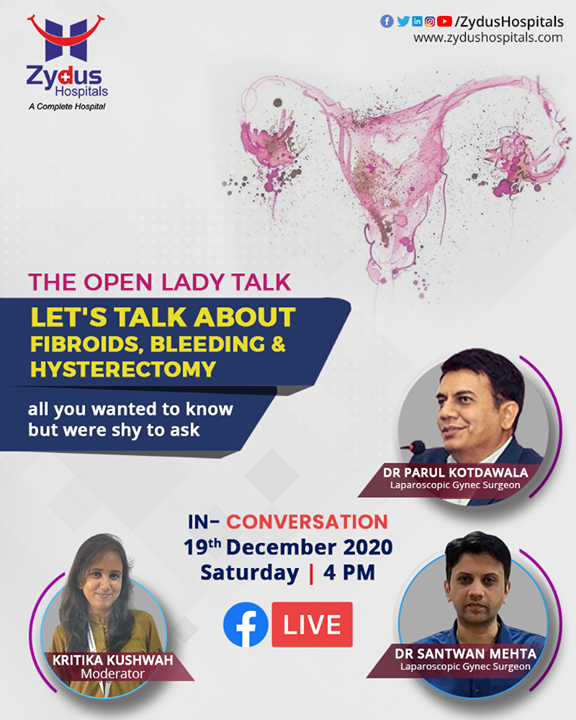 It is high time we keep the shyness aside and talk about #gynaecological problems faced by #women all around. During the reproductive #lifetime of a women, a lot of changes arise and it is important to understand the symptoms of major #disorders that can be caused by them.  Find out more on 19th December, 4 PM with the most renowned Gynec Surgeons in town.  #FacebookLive #FBLive #Hysterectomy #UterineFibroids #Periods #ZydusHospitals #BestHospitalInIndia #Ahmedabad #SmileofGoodHealth