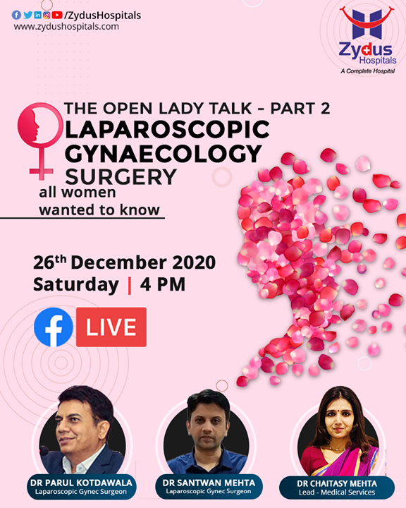 #LaparoscopicGyneacologySurgery - The Open Lady Talk - Part 2 on public request.  #Hysterectomy is the surgical removal of the #uterus, it may also involve removal of the cervix & ovaries. The surgery can be done for uterine fibroids that cause pain, bleeding, or other problems.   During #laparoscopic hysterectomy small incision is made in the belly button and a tiny camera is inserted.  The surgeon watches the image from this camera on a TV screen and performs the operative procedure.   Zydus Hospitals ensure that you get back to your #home healthy and pain free within 24 hours and will be fully recovered in 1 week.  #LaparoscopicHysterectomy #Laproscopy #ZydusHospitals  #BestHospitalinAhmedabad #Ahmedabad #GoodHealth