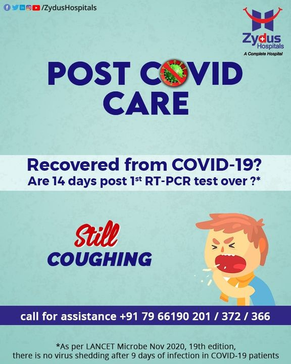 In a world where #COVID is still a mystery, #PostCOVIDCare is necessary to understand. Recovering from COVID-19 doesn't ensure #normal life, you may still have #symptoms ranging from gastric problems, chest pain, breathlessness & coughing.   #ZydusHospitals is here to solve your Post COVID blues with our team of experts. Call for assistance: +917966190201 +917966190372  #COVID19 #PostCOVIDRecovery #NewNormal #BestHospitalInIndia #Ahmedabad #SmileofGoodHealth