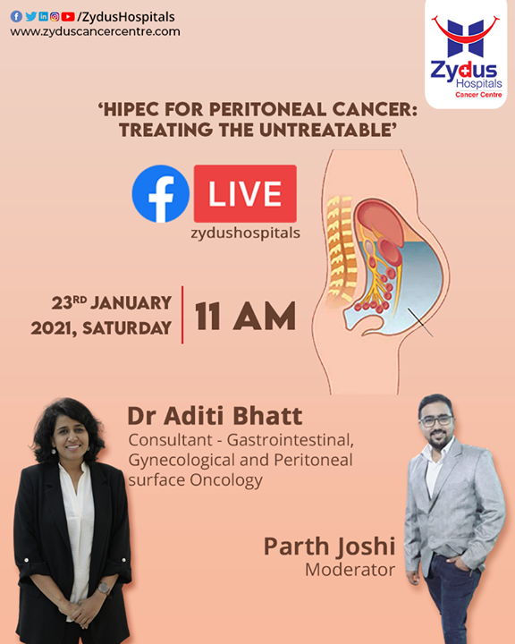 "#HIPEC is a form of #chemotherapy performed at the end of surgery in attempt to kill any remaining cancer cells that cannot be seen. Join this GUJARATI FB Live Session about ""Treating the Untreatable"" on 23rd January 2021, 11 AM and learn from the Dr. Aditi Bhatt.   #ZydusHospitals #ZydusCancerCentre #Cancer #Tumors #MultiSpecialtyHospital #CancerTreatment #CancerHospital #AhmedabadHospital #BestHospitalInAhmedabad"
