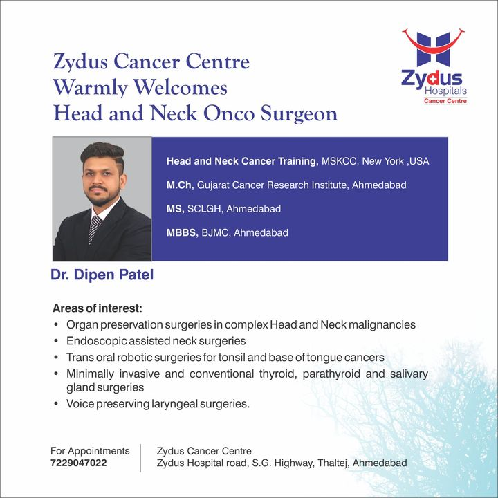 We are very pleased to welcome Head and Neck Onco Surgeon, Dr. Dipen Patel to our Zydus Family. We are surely looking forward to learn a lot from him.  #Welcome #ZydusCancerCentre #HeadandNeckOncoSurgeon #BestCancerCentre #NeckCancer #BestHospitalinIndia #ZydusHospitals #Ahmedabad #GoodHealth