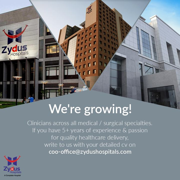 Be part of a hospital which has redefined healthcare. With Zydus Hospitals, you can work with experts, experienced Doctors & Staff Members and take this renowned name to greater heights. We are growing!  #Recruiting #Hiring #HiringDoctors #Clinicians #Surgeons #Doctors #CV #ZydusHospitals #HealthCare #StayHealthy #ZydusCare #Ahmedabad #Gujarat #BestHospitalinAhmedabad