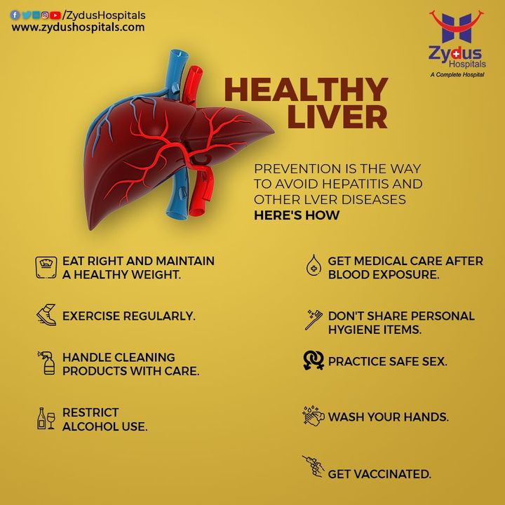 Liver can be a host to many critical disorders if not taken care of including Hepatitis, Liver Cancer, Hemochromatosis etc. One should ensure to keep their liver healthy by following these practices to secure a healthy & better future.  #Liver #LiverDiseases #Hepatitis #LiverCancer #HealthyLiver #Exercise #EatHealthy #HealthyDiet #NoAlcohol #Vaccination #ZydusHospitals #HealthCare #StayHealthy #ZydusCare #Ahmedabad #Gujarat #BestHospitalinAhmedabad
