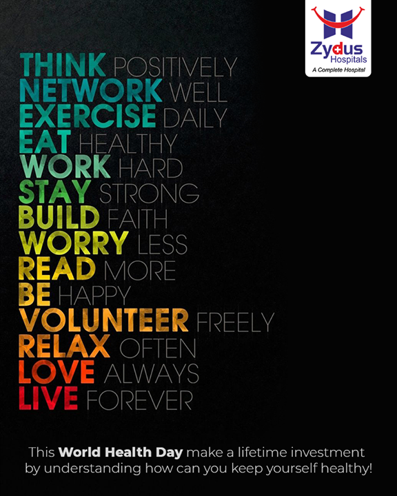 It is never too early or too late to work towards being the healthiest version of yourself.  On this World Health Day, let's adopt a healthy lifestyle.   #ZydusHospitals #WorldHealthDay #WorldHealthDay2021 #HealthDay #HealthyLifestyle #HealthAwareness #HealthGoals #HealthCare #StayHealthy #ZydusCare #Ahmedabad #Gujarat #BestHospitalinAhmedabad