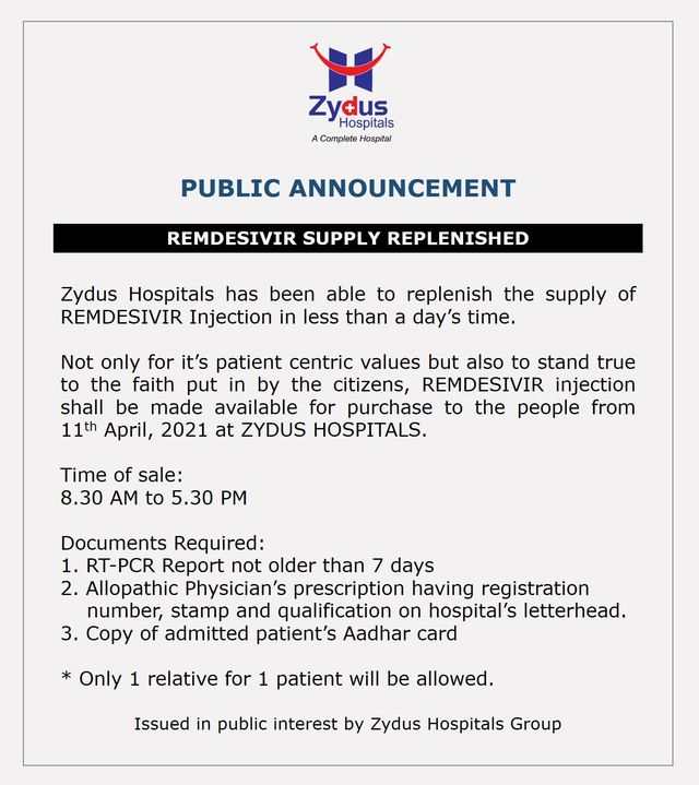 With more zest and preparations, Zydus Hospitals announces stock replenishment of #REMDAC #Remdesivir from #ZydusCadila.  Let us all maintain social distancing, wear masks and use sanitizers to effectively fight #COVID19pandemic.  Kindly be patient as you join the queue for Remdesivir at Zydus Hospitals.  #COVID19 #COVID19management #COVID19medication #Pandemic #ZydusHospitals #Ahmedabad