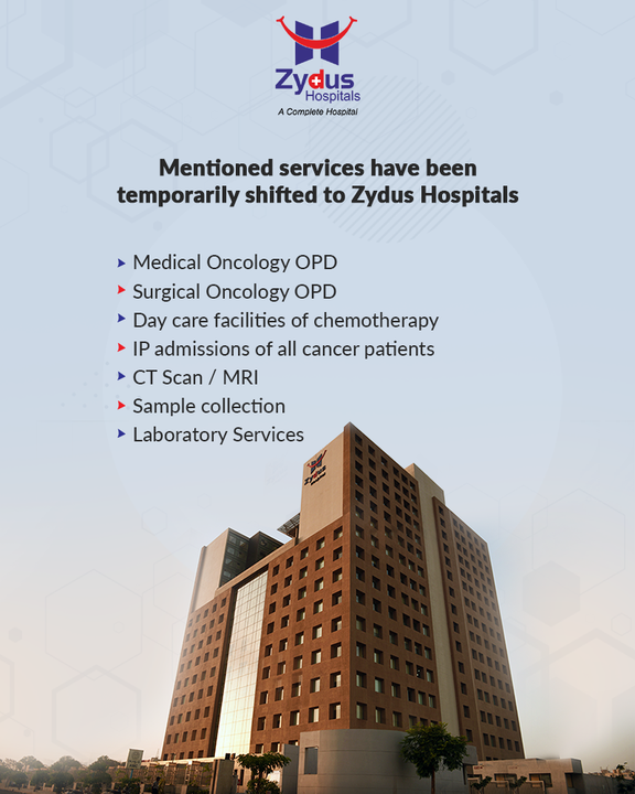 For a short period of time, the mentioned services have been shifted from Zydus Cancer Center to Zydus Hospitals. Hence, it is our humble request to our patients to please visit accordingly.  #ZydusHospitals #ZydusCancerCentre #CancerHospital #HealthCare #StayHealthy #ZydusCare #BestHospitalinAhmedabad #Ahmedabad #GoodHealth