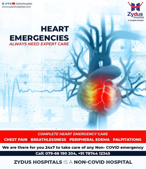 The first thing to do in case of an Heart Emergency is calling an Ambulance and reaching out for Expert Care because the matters of the heart are really intricate, biologically too.   Zydus Hospitals is here with complete care for your Heart, whether is is chest pain, breathlessness, peripheral edema or palpations, we know what your heart needs.  For Expert Care of your Heart, Call: 079-66190 204, +91 78744 12345  #ZydusHospitals #Heart #HeartDisease #BloodPressure #Cholesterol #HeartEmergency #Emergency #MedicalEmergency #ExpertDoctors #CareforHeart #ChestPain #Breathlessness #HealthCare #StayHealthy #ZydusCare #Ahmedabad #Gujarat #BestHospitalinAhmedabad