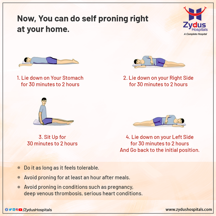 Self-help is the best help and you should not leave any chance taking care of your health especially during the pandemic time!  Take a look to learn the self-proning techniques and practice them at home.  Although these exercises are easy and simple, they will help your body in significant ways.  #ZydusHospitals #Oxygen #COVID19 #COVIDCare #StaySafe #KeepThemSafe #KeepThemHealthy #Weakness #Fever #Coughing #Pediatric #Pediatrician #HealthCare #StayHealthy #ZydusCare #Ahmedabad #Gujarat #BestHospitalinAhmedabad