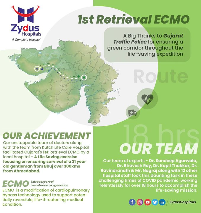 #COVID has not ended other medical emergencies. Zydus Hospitals managed a similar condition for over 18 hours on May 01,2021. The team of doctors successfully carried out Retrieval ECMO. Extracorporeal membrane oxygenation (ECMO) is a life support machine. Patients requiring ECMO support have a severe and life-threatening illness that stops their heart or lungs from working properly. For instance, ECMO is used during life-threatening conditions such as severe lung damage from infection, or shock after a massive heart attack. #Emergency #ECMO #HeartAttack #heart #heartdisease #stroke #hearthealth #LungInfection #infection #LungFailure #HealthCare #StayHealthy #ZydusCare #Ahmedabad #Gujarat #BestHospitalInAhmedabad