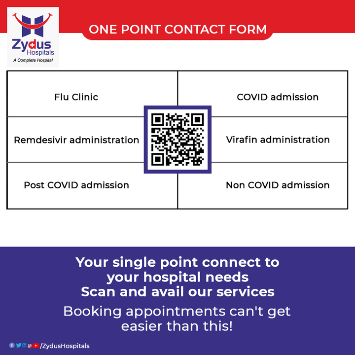 Whatever your health concern is, we'll bring the ideal solution to it. With ONE POINT CONTACT FORM by Zydus Hospitals, you can get appointment and access to our OPD and IPD services with just a scan.  Visit - https://www.zydushospitals.com/Zydus-appointment/  #FluClinic #COVIDAdmission #NonCOVIDAdmission #Remdesivir #Virafin #Injection #VirafinDrug #COVID19 #Hospital #Health #ZydusHospitals #HealthCare #StayHealthy #ZydusCare #Ahmedabad #Gujarat #BestHospitalinAhmedabad