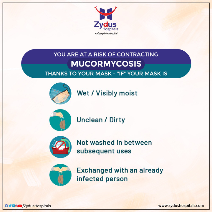 Stay away from contracting Mucormycosis (Black / White / Yellow fungus) by using your Mask properly. Poorly ventilated rooms along with