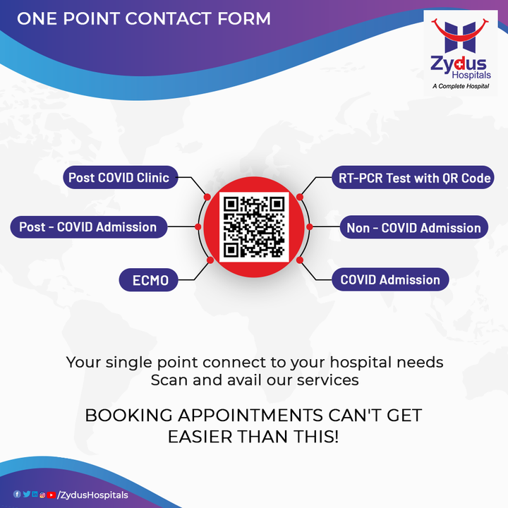 Want to book an appointment - Don't Call Us, Just click  Zydus Hospitals is here with an innovative with One Point Contact Form. Just Scan and book your appointment, and we will get in touch with you ASAP. With this easy & versatile solution, access our services in the best way possible.   Visit - https://www.zydushospitals.com/Zydus-appointment/  #COVIDAdmission #NonCOVIDAdmission #RTPCR #ECMO #Infection #COVID19 #Hospital #Health #ZydusHospitals #HealthCare #StayHealthy #ZydusCare #Ahmedabad #Gujarat #BestHospitalinAhmedabad