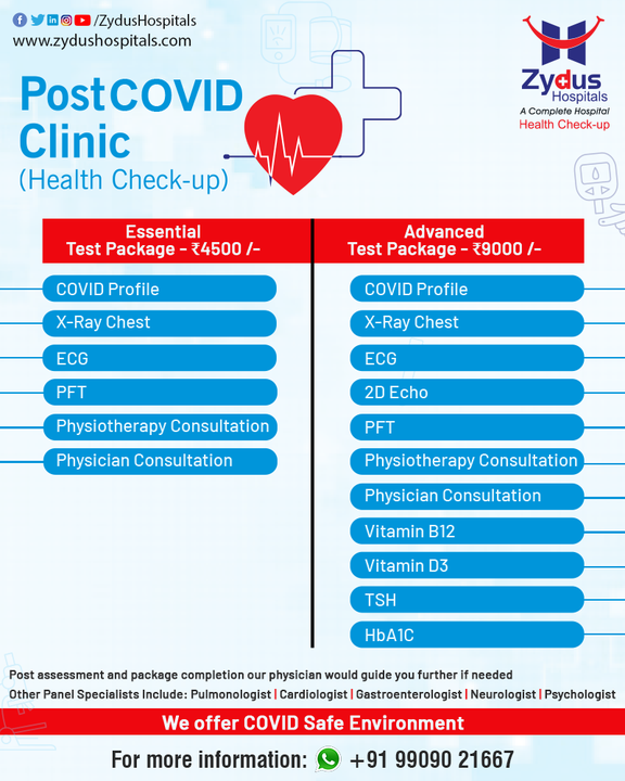 Post-COVID Checkup is a way towards bringing normalcy back in your life. COVID recovery can be a tough task but Zydus Hospitals is here for you with Post COVID Health Checkup, where you can access the facilities of a COVID profile, X-Ray, ECG, PFT and many more.   For further guidance, our expert physicians are here to guide you.  #PostCOVID #COVIDRecovery #COVIDProfile #HealthCheckup #COVID19 #Hospital #Health #ZydusHospitals #HealthCare #StayHealthy #ZydusCare #Ahmedabad #Gujarat #BestHospitalinAhmedabad