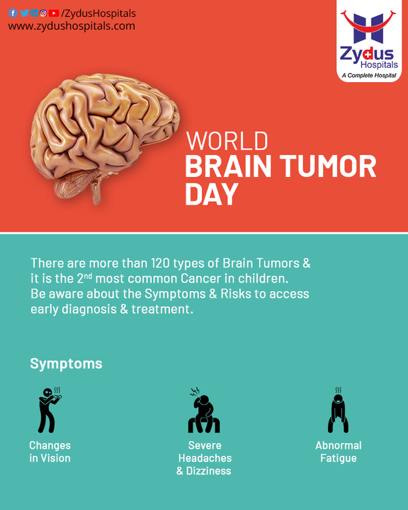 There are a lot of myths surrounding Brain Tumor and raising awareness can help in spreading facts. Manifestations of brain tumor may be nonspecific but knowing the symptoms leads to early diagnosis which helps in planning further management in initial stages of the disease.  On this day, educate yourself and others about the signs, symptoms & facts of Brain Tumor.  #WorldBrainTumorDay #BrainTumor #Cancer #Tumor #BrainDiseases #Hospital #Health #ZydusHospitals #HealthCare #StayHealthy #ZydusCare #Ahmedabad #Gujarat #BestHospitalinAhmedabad