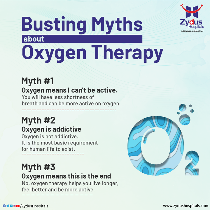 In case your oxygen falls below the required levels, oxygen therapy is often recommended to ensure your blood has enough for your body's needs. If Oxygen Therapy is recommended to you, don't believe in any of the myths; talk to your doctor for more clarity.  #Oxygen #OxygenTherapy #Myths #Hospital #Health #ZydusHospitals #HealthCare #StayHealthy #ZydusCare #Ahmedabad #Gujarat #BestHospitalinAhmedabad