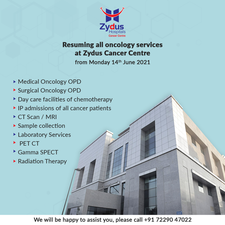 Oncology Services will be resumed from 14th June, at Zydus Cancer Centre. Being a COVID-Free zone, be assured about the safety.   We are here to assist you at every stage of your treatment. For more information, Call: +91 72290 47022  #ZydusHospitals #COVIDFree #COVIDSafe #CancerCare #Cancer #BestHospitalinAhmedabad #Ahmedabad #GoodHealth #ZydusCancerCentre #CancerHospital