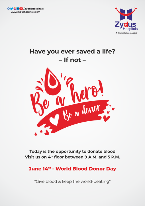 Have you ever saved a life?  If yes, then keep the ball rolling & if not then join the league of saving lives today.  Be a hero, donate blood.  #WorldBloodDonorDay2021 #BloodDonor #BloodDonorDay #WorldBloodDonorDay #Hospital #Health #ZydusHospitals #HealthCare #StayHealthy #ZydusCare #Ahmedabad #Gujarat #BestHospitalinAhmedabad