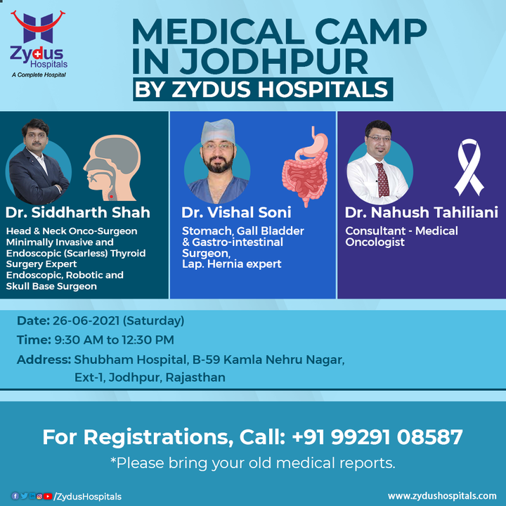 Our expert doctors are coming to your city, Jodhpur for a Medical Camp.  If you are suffering from any disorder, you can visit the medical camp and understand the treatment. See you soon at Jodhpur!  For Registrations, Call: +91 99291 08587  #HealthCamp #MedicalCamp #OncoSurgery #GISurgery #Hernia #Oncology #Chemotherapy #Cancer #Jodhpur #Surgeon #Doctor #Hospital #Health #ZydusHospitals #HealthCare #StayHealthy #ZydusCare #Ahmedabad #Gujarat #BestHospitalinAhmedabad
