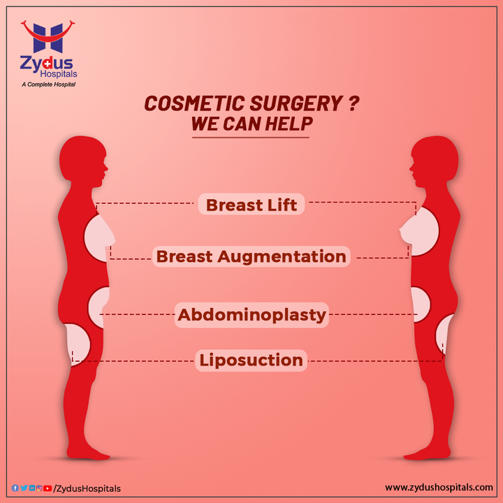 A low self-esteem can reduce the quality of a person's life and therefore, restoring your Confidence is a very important thing. Cosmetic Surgery can help you achieve that. Empower yourself and Love yourself after you attain the perfect look you have always craved for. Breast lift & augmentation can bring a huge difference in your appearance. While abdominoplasty & liposuction can improve the look of your waist and belly.  Zydus Hospitals offer a wide range of cosmetic surgeries like Abdominoplasty, Breast Lift, Liposuction, Breast Augmentation etc. with world class technology & our expert plastic surgeons, you don't need to second guess your decision.  #CosmeticSurgery #Surgery #FaceLift #BreastLift #BreastAugmentation #Abdominoplasty #Implant #Liposuction #Hospital #Health #ZydusHospitals #HealthCare #StayHealthy #ZydusCare #Ahmedabad #Gujarat #BestHospitalinAhmedabad