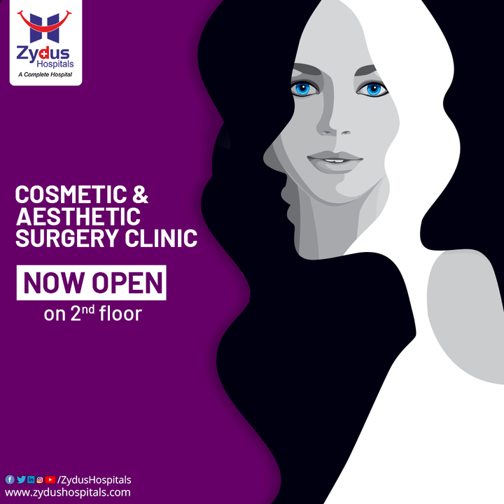 Zydus Hospitals brings to you, Cosmetic & Aesthetic Surgery Clinic on 2nd Floor. Boost your Confidence & Stay Satisfied with your appearance with technologically advanced & one of a kind Cosmetic Surgery Solutions.  #CosmeticSurgery #Cosmetic #FaceLift #BreastLift #BreastAugmentation #Abdominoplasty #Surgery #Scar #ScarRemoval #Skin #Implant #Liposuction #Hospital #Health #ZydusHospitals #HealthCare #StayHealthy #ZydusCare #Ahmedabad #Gujarat #BestHospitalinAhmedabad