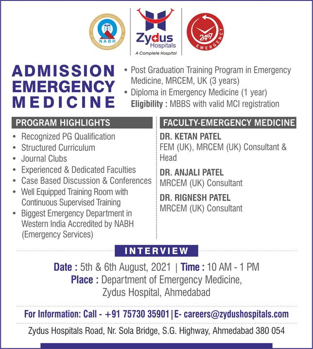 Zydus Hospitals invites applications for interviews for admission in MRCEM, Emergency Medicine.   With the Expert Faculty of Emergency Medicine, we are looking for students who possess the compassion to cure beyond the ordinary.  #ZydusHospitals #Admission #MedicalCourse #EmergencyMedicine #Interview #Freshers #MBBS #MRCEM #CV #Resume #Nursing #PostGraduate #Emergency #HealthCare #StayHealthy #ZydusCare #Ahmedabad #Gujarat #BestHospitalinAhmedabad