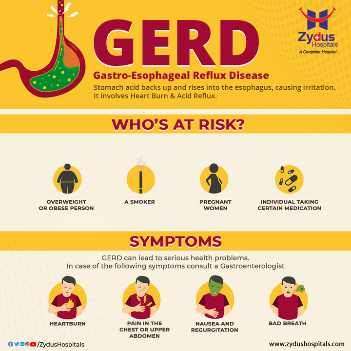 Many people experience acid reflux from time to time but when it occurs more than 2 times a week, it could be Gastroesophageal Reflux Disease (GERD). In some cases, GERD can also cause difficulty in swallowing and sometimes lead to breathing problems, like a chronic cough or asthma. Avoiding lying down for 3 hours after a meal can help you avoid GERD along with maintaining a healthy weight, and quitting to smoke.   #ZydusHospitals #GastroDisease #Acidity #AcidReflux #HeartBurn #GERD #BowelDisease #Gastrologist #Gastroenterologist #GastroScience #Diarrhea #Digestion #DigestiveSystem #StomachDisease #GastrointestinalDisease  #Health #HealthCare #HealthyHeart #StayHealthy #ZydusCare #Ahmedabad #Gujarat #BestHospitalinAhmedabad