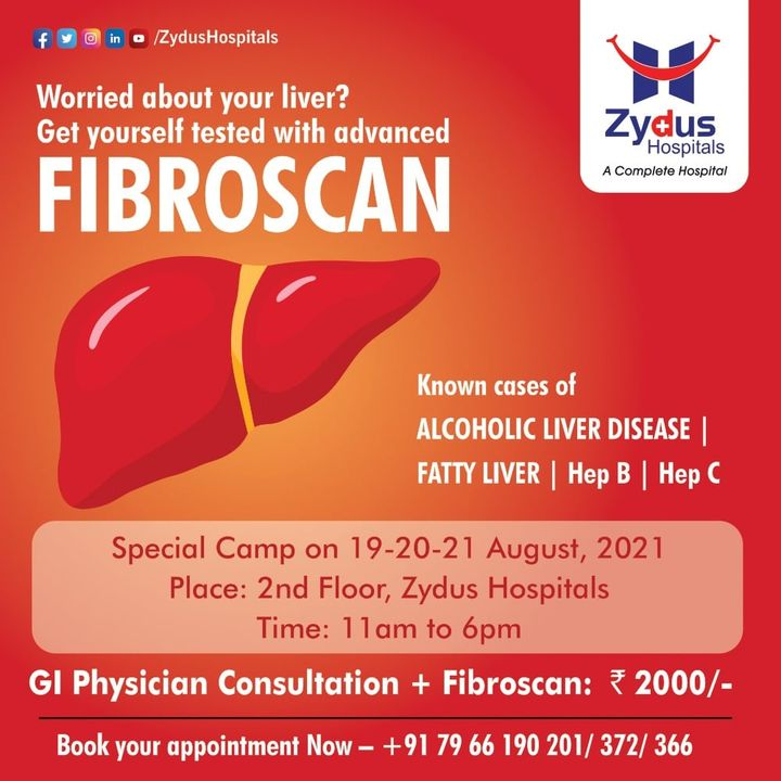 Fibroscan is non-invasive and uses ultrasound technology to determine the degree of fibrosis or scarring present in your liver from liver diseases or conditions. For some patients, Fibroscan can replace liver biopsy plus there is no pain, and sedation is not required.   Zydus Hospitals is organizing a Special FibroScan Camp where you can get tested for Alcoholic Liver Disease, Fatty Liver or Hepatitis.   #Liver #LiverDiseases #Fibroscan #FattyLiver #AlcoholicLiver #Fibrosis #Hepatitis #Gastroenterologist #Ultrasound #ZydusHospitals #HealthCare #StayHealthy #ZydusCare #BestHospitalinAhmedabad #Ahmedabad #GoodHealth